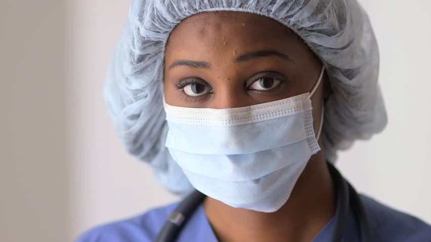 Black Woman Doctor Wearing Mask