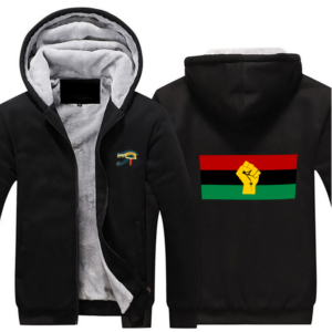 RBG Black Power - Hoodie Full Zip Warm and Thick Plush Sweater Front and Back Print Offset Heat Transfer Print
